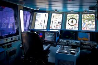 Steuerung eines modernen Schiff